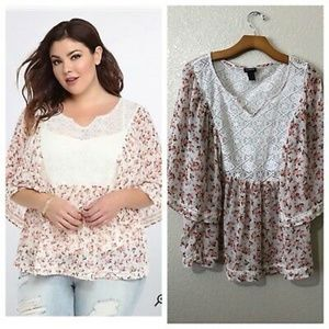 TORRID FLORAL CHIFFON WITH LACE YOKE TOP